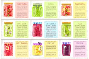 Canned Tomatoes and Peas Set Vector