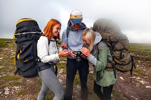 Photographer traveler on mountaint