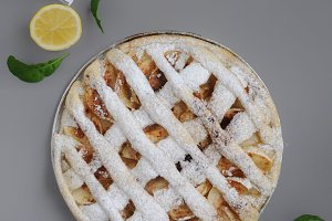 Homemade pie with mint and lemon