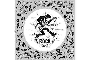 Rock Forever Person Guitarist Vector