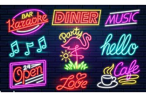 Set of fashion neon sign