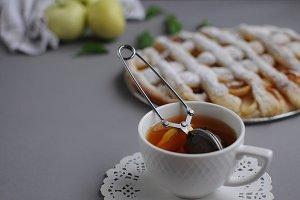 Homemade cake with black tea