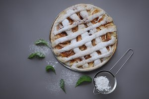 Homemade pie with mint