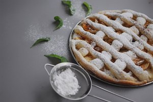 Homemade cake with sieve