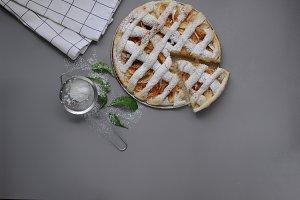 Homemade cake with sieve.