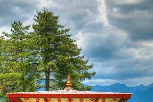 Prayer wheel in the Semtokha Dzong a