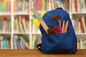 Image of bag with school supplies