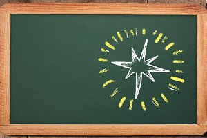 Star on blackboard