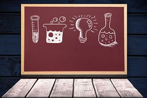 Science drawing on blackboard