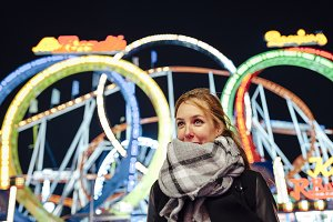 Young woman at funfair