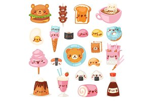 Food kawaii vector cartoon bear