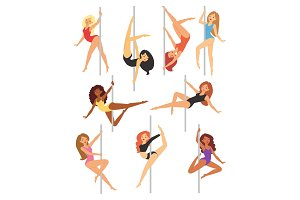 Pole dance girl vector set woman