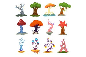 Magic tree vector fantasy forest