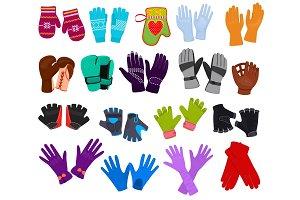 Glove vector woolen mittens and