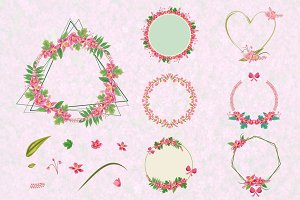 7 Flower Floral Wreath Frame Element