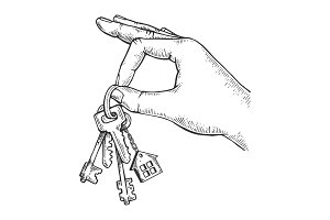 Keys in hand engraving vector
