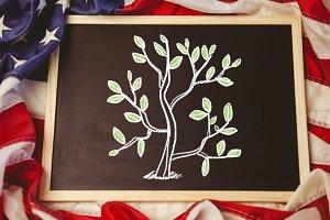 Tree leaves on blackboard