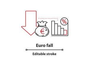 Euro fall concept icon