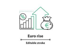 Euro rise concept icon