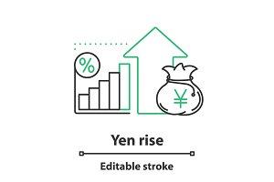 Yen rise concept icon