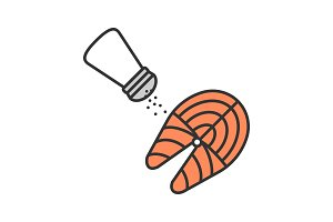 Salting fish steak color icon