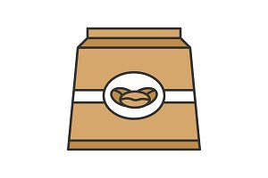 Coffee paper package color icon