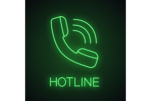 Handset neon light icon