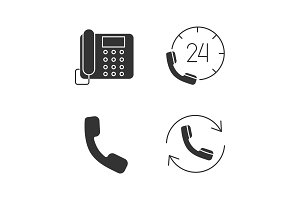 Phone communication glyph icons set
