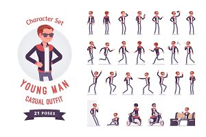 Young man character set