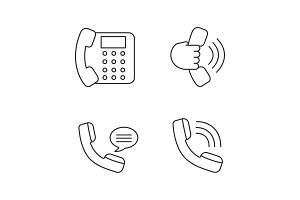 Phone communication linear icons