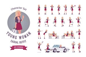 Young woman character set