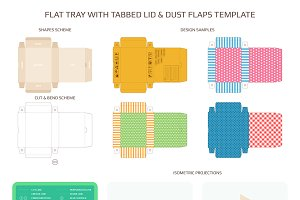 Tray with tabbed lid and dust flaps