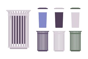 Outdoor trash bin set