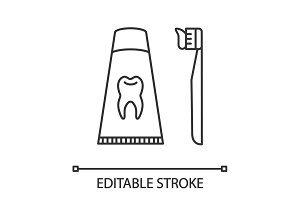 Toothbrush with toothpaste icon