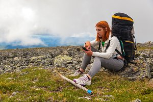 Woman traveler and  hiking