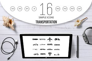 Transportation icons set, simple