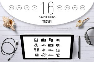 Travel icons set, simple style