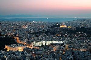 Athens landmark at night.