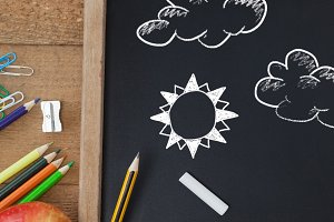 Clouds and sun Education drawing