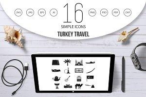 Turkey travel icons set, simple