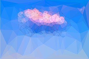 Low polygonal blue sky background