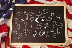 American flag and education drawings