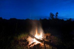 Big orange fire in bonfire