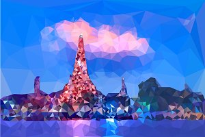 Low poly of Wat Arun temple
