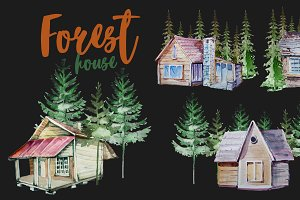Watercolor Forest House Clipart