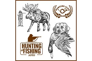 Elk hunting and hunting dog