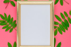 Frame mock up with fresh green leave