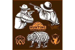 Hunters and bear. hunters club logo
