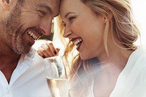 Loving couple enjoying each others
