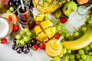 Different fruit juices and smoothies